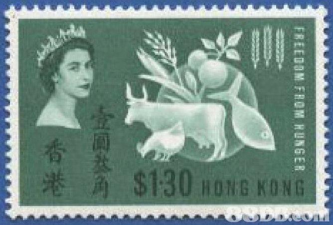 港 $130 HONGKONG FREEDOM FROM HUNGER  Postage stamp,