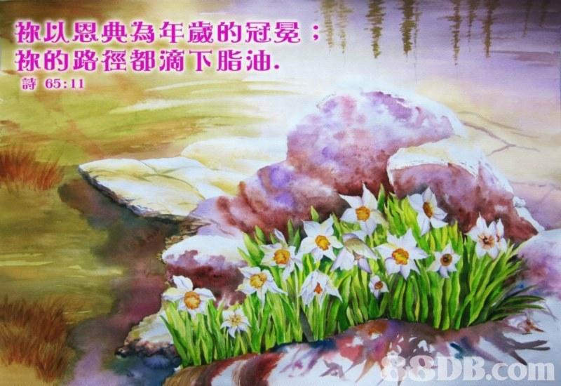 称以恩典為年歲的冠冕; 称的路徑都滴下脂油, 65:11 8SDB.com  Watercolor paint,Painting,Flower,Plant,Spring