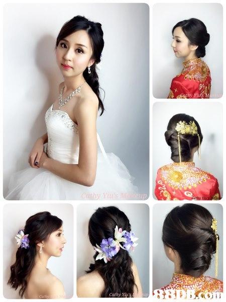 hair,hairstyle,long hair,black hair,bride