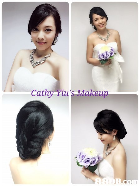 Cathy Yiu' Makeup,hair,bride,flower,hairstyle,gown