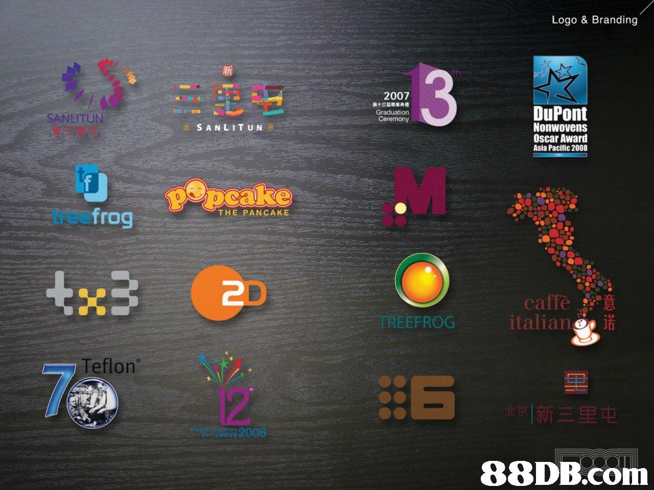 Logo & Branding 2007 第十三屆畢業典禮 Graduation SANLITUN DuPont Nonwovens Oscar Award Asia Pacific 2008 treefrog THE PANCAKE italia! + TREEFROG Teflon 京|新三里屯 2006   Text,Font,Screenshot,Technology,Icon