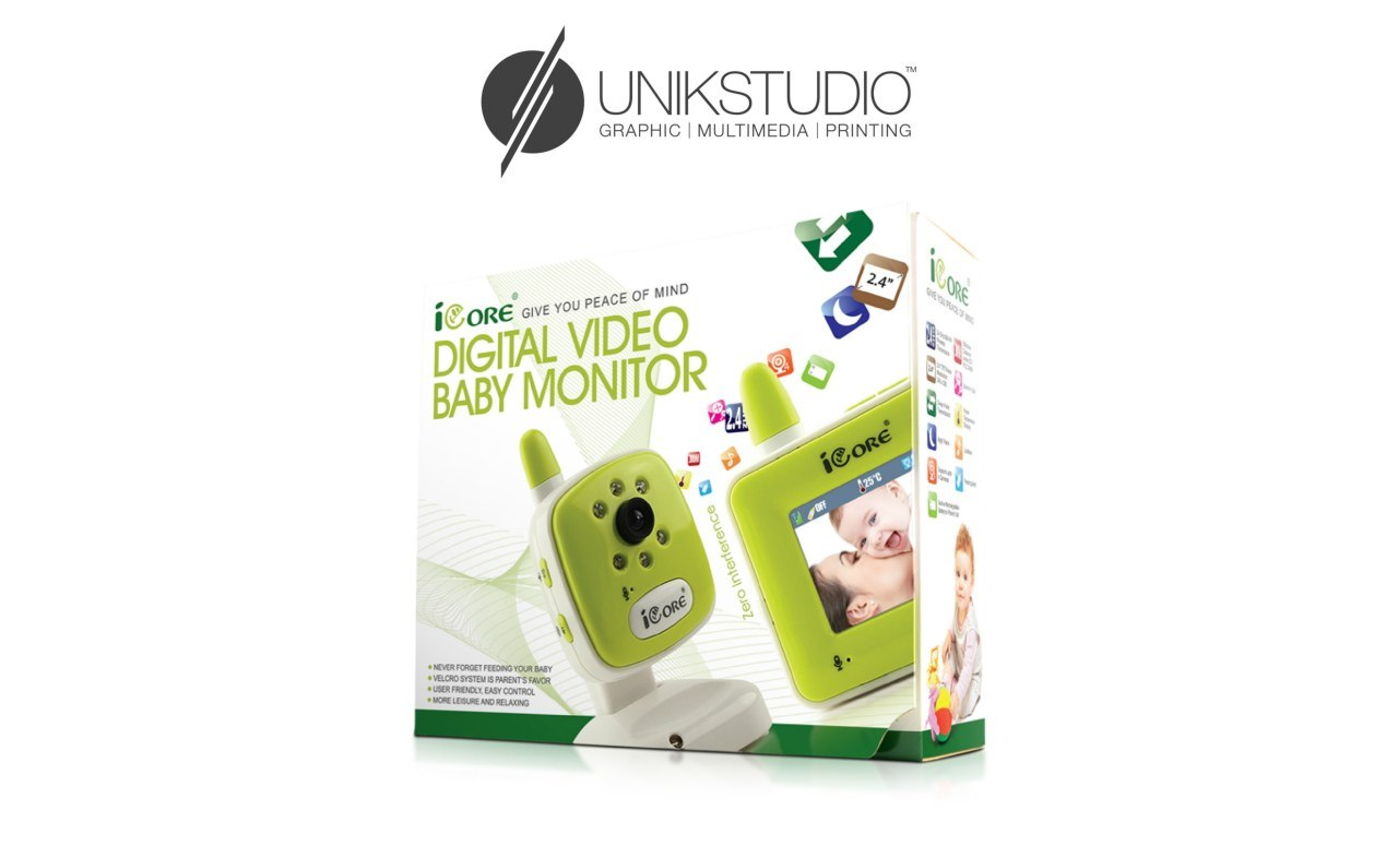 UNIKSTUDIO GRAPHIC | MULTIMEDIA | PRINTING EACE OF MIND ICORE GIVE YOU P DIGITAL VIDEO BABY MONITOR GOR ICORE NEVER FORGET FEEDING YOUR BABY 8ORO SYSTEM IS PARENTS FAIOR USER FRIENDLY, EASY CONTROL *MORE LEOL AND RELAXING  product,product,text,brand,