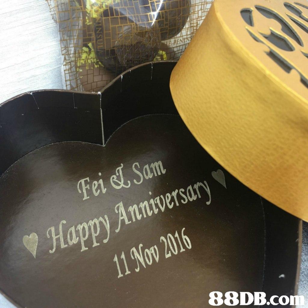 Fei Sam Happy Anniversary 1 Nov 2016   Yellow,Material property,Font,Metal,
