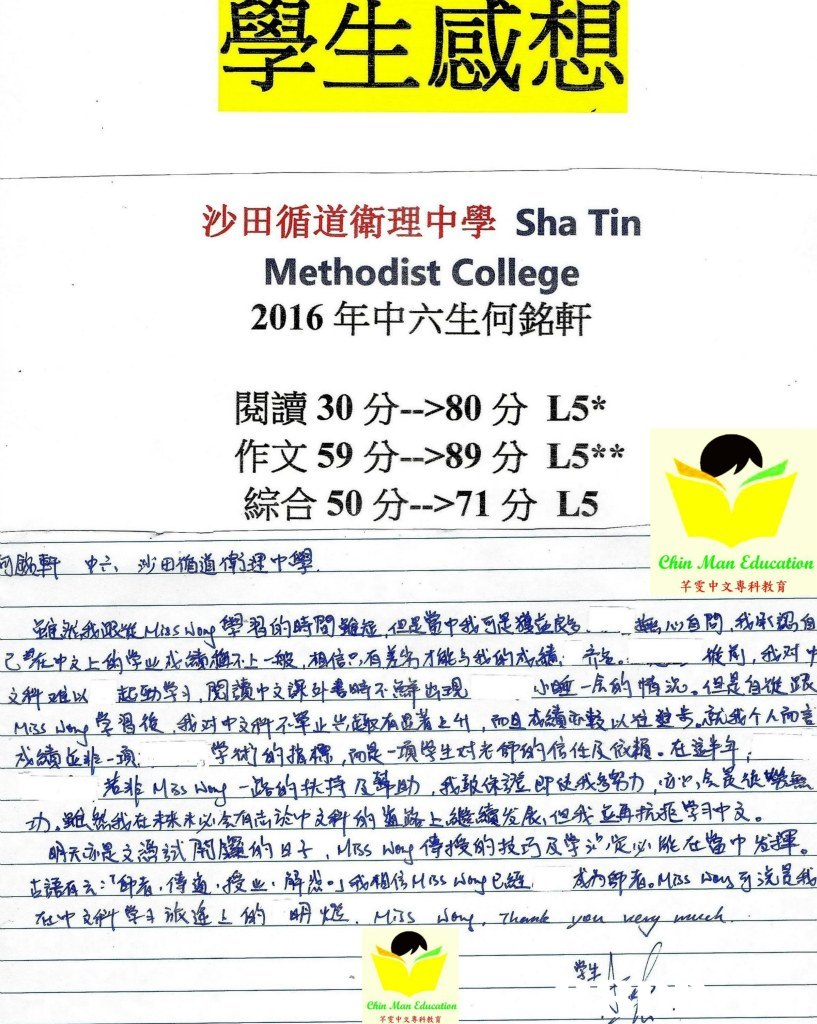 學生 感想 沙田循道衛理中學Sha Tin Methodist College 2016年中六生何銘軒 閱讀30分-->80分し5% 作文59分 89分し5** 綜合50分-->71分し5 ehin Man ε。łucation 芊雯中文專科教育 esin 'Man εdio ation 羊雯中文專科教育  Text,Font,Line,Illustration,