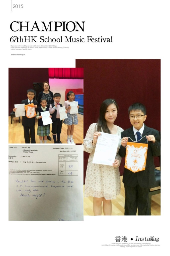 2015 CHAMPION 6/thHK School Music Festival Assigned Oder aser 25 Graded Piano Solo Menter 010327 Competitor Lam Yu Hi at88 香港. Installag  formal wear,girl,