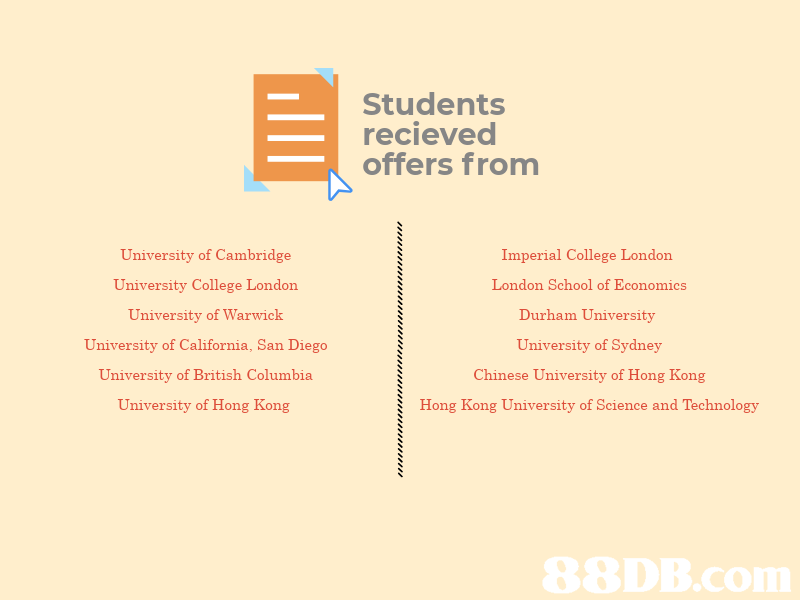 Students recieved offers from University of Cambridge University College London Imperial College London London School of Economics Durham University University of Sydney Chinese University of Hong Kong Hong Kong University of Science and Technology Universit y of Warwick University of California, San Diego University of British Columbia University of Hong Kong,text,font,line,area,