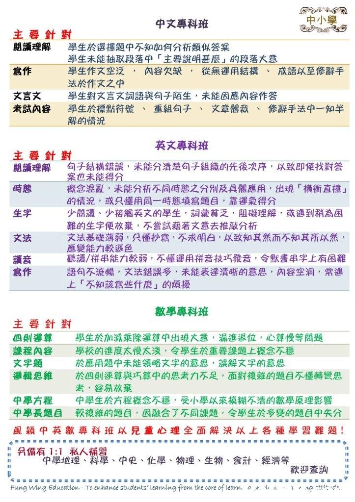 中文專科班 中小學 主要針對 閱讀理解 寫作 文言文 學生於選擇題中不知如何分析類似答案 學生未能抽取段落中「主要說明甚麼」的段落大意 學生作文空泛,內容欠缺,從無運用結構、成語以至修辭手 法於作文之中 學生對文言文詞語與句子陌生,未能因應內容作答 學生於標點符號 解的情況 考試內容 重組句子 文章體裁 修辭手法中一知半 、 、 、 英文專科班 主要針對 閱讀理解 時態 生字 文法 讀音 句子結構錯誤,未能分清楚句子組織的先後次序,以致即使找對答 案也未能得分 概念混亂,未能分析不同時態之分別及具體應用,出現「橫衝直撞」 的情況,或只懂用同一時態填寫題目,靠運氣得分 少閱讀、少接觸英文的學生,詞彙貧乏,阻礙理解,或遇到稍為困 難的生字便放棄,不嘗試藉著文意去推敲分析 文法基礎薄弱,只懂抄寫,不求明白,以致知其然而不知其所以然 應變能力較承色 聽讀/拼串能力較弱,不懂運用拼音技巧發音,令默書串字上有困難 語句不流暢,文法錯誤多,未能表達清晰的意思,內容空洞,常遇 上「不知該寫些什麼」的煩擾 寫作 數學專科班 主要針對 四則運算 學生於加減乘除運算中出現大意,漏進退位,心算慢等問題 課程內容 學校的進度太慢太淺,令學生於重要課題上概念不穩 文字題 邏輯思維 於四則速算與巧算中的思考力不足,面對複雜的題目不懂轉彎思 於應用題中未能領略文字的意思,誤解文字的意思 考,容易放棄 中學方程 中學生於方程概念不穩,受小學以來模糊不清的數學原理影響 中學長題目 較複雜的題目,因融合了不同課題,令學生於多變的題目中失分 風穎中英數專科班以兒童心理全面解決以上各種學習難題! :: 另備有1:1 私人補習 中學地理、科學、中史、化學、物理、生物、會計、經濟等 歡迎查詢 Fung wing Education-To enhance students' lear una fron. the core of Learn 0建ル 0 tmp L- ,,text,font,line,area,document