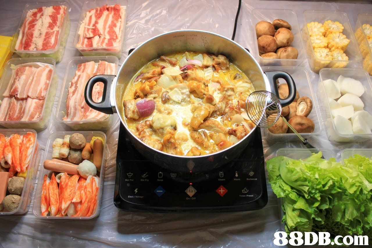 CO Steam WarmBarbecue Hot Pot Stir Fry Soup Timer/Preset Elect./Voltage On Of,dish,food,cuisine,meal,vegetarian food