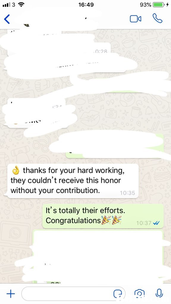 16:49 93% 3 0:28 thanks for your hard working, they couldn't receive this honor without your contribution. 10:35 It's totally their efforts. Congratulations 10:37,Text,Font