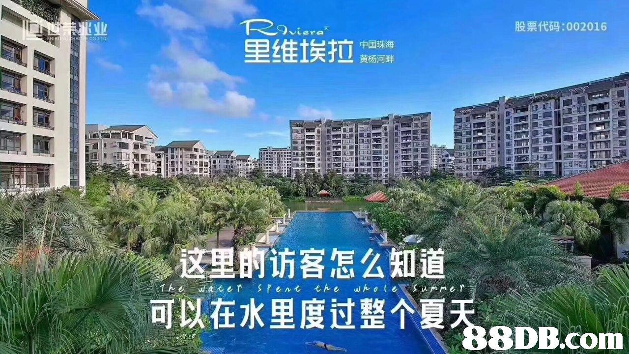 股票代码:002016 Veera HA COLTD 里维埃拉 中国珠海 这里的访客怎么知道 可以在水里度过整个夏天 8DB.conm  Condominium,Metropolitan area,Property,Sky,Building