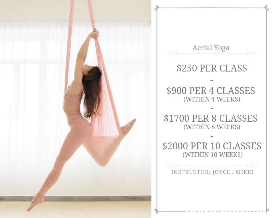 Aerial Yoga $250 PER CLASS $900 PER 4 CLASSES (WITHIN 4 WEEKS) $1700 PER 8 CLASSES (WITHIN 8 WEEKS) $2000 PER 10 CLASSES (WITHIN 10 WEEKS) INSTRUCTOR: JOYCE / MIKKI  Athletic dance move,Physical fitness,Balance,Yoga,