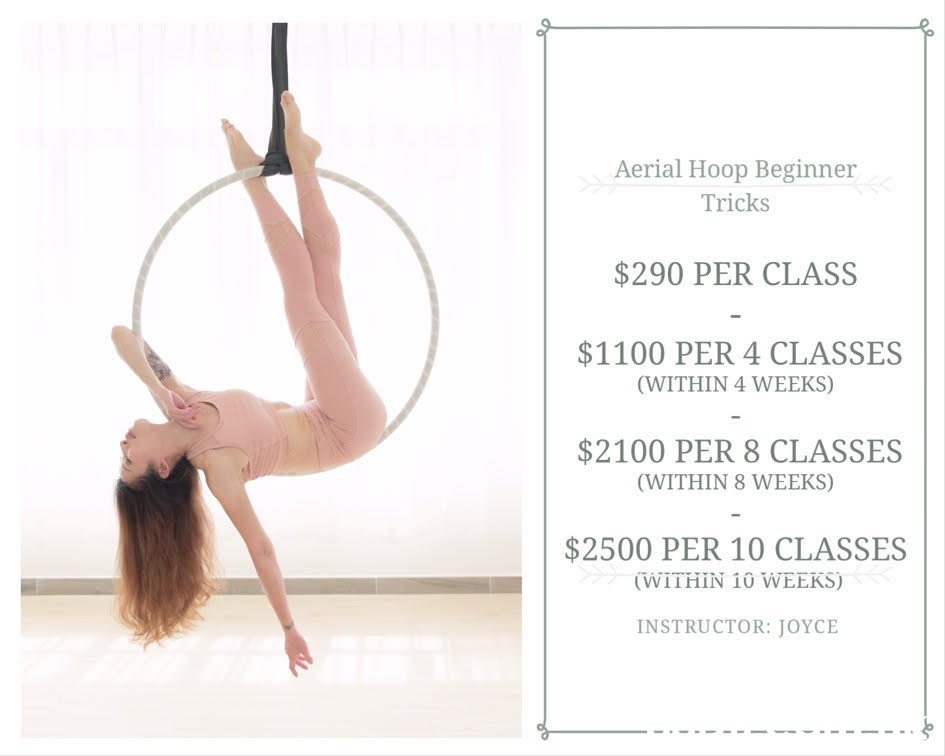 Aerial Hoop Beginner Tricks $290 PER CLASS $1100 PER 4 CLASSES (WITHIN 4 WEEKS) $2100 PER 8 CLASSES (WITHIN 8 WEEKS) $2500 PER 10 CLASSES (WITHIN 10 WEEKS) INSTRUCTOR: JOYCE  Athletic dance move,Physical fitness,Pilates,Performing arts,Leg